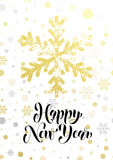 Happy New Year gold glitter snowflake greeting card text lettering. Golden glittering Christmas balls pattern on background. Hand drawn calligraphy for winter stock illustration