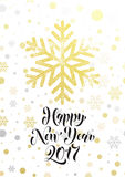 Happy New Year gold glitter snowflake greeting card text lettering. Happy New Year 2017 gold glitter snowflake greeting card text lettering. Golden glittering Royalty Free Stock Photography