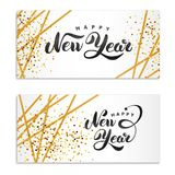 Happy New Year gold glitter. Gold sparkles Print logotype, 2018 party, congratulation, greeting card, Golden decorations for happy new year, Merry Christmas vector illustration