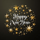 Happy New Year gold glitter stars greeting card Royalty Free Stock Images