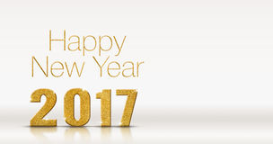 Happy new year 2017 gold glitter texture on white studio room ba Stock Photos