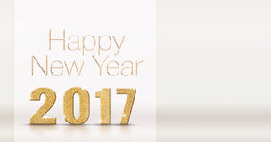 Happy new year 2017 gold glitter texture on white studio room ba. Ckground,Mock up template for adding your contents 3d rendering