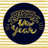 Happy New Year Gold glittering elegant modern brush lettering design on a orange striped background Vector.  Stock Photography