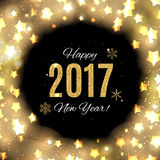 2017 Happy New Year Gold Glossy Background. Vector Illustration Stock Photo