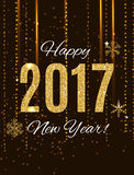 2017 Happy New Year Gold Glossy Background. Vector Illustration Royalty Free Stock Photo