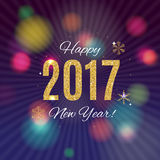 2017 Happy New Year Gold Glossy Background. Vector Illustration. EPS10 Stock Images