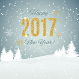 2017 Happy New Year Gold Glossy Background. Vector Illustration Stock Image
