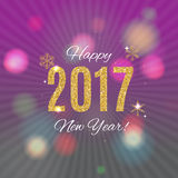 Happy New Year 2017 Gold Glossy Background. Vector Illustration Royalty Free Stock Photo