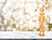 Happy new year 2018 gold glossy 3d rendering  on marble table Royalty Free Stock Photo