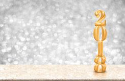 Happy new year 2018 gold glossy 3d rendering  on marble table Stock Photo