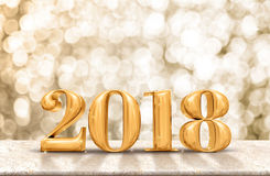 Happy New Year 2018 gold glossy on marble table with sparkling g stock photo