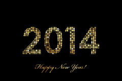 2014 Happy New Year gold glowing Royalty Free Stock Photos