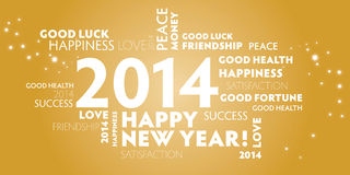 2014, happy new year, gold. Greeting Card 2014, happy new year, golden colour, wishes for the new year Stock Photos