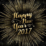 Happy New Year 2017 gold holiday background. Happy New Year 2017 gold background with text quote and firework explosion. Luxury holiday greeting card design Stock Photos