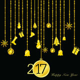 Happy new year 2017 gold illustration on black. Background stock illustration