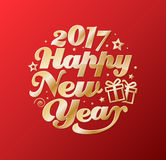Happy New Year gold lettering circle. Modern calligraphy for greeting card, poster, photo overlay.  on red background. Vector illustration. Handmade vector Stock Images