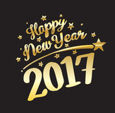 Happy New Year 2017 gold lettering and stars. Vector illustration Royalty Free Stock Photos