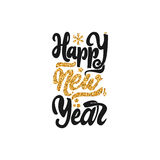 Happy new year 2017 gold lettering text . Handmade vector calligraphy for your design. Happy new year 2017- Badge drawn by hand, using the skills of calligraphy Stock Image