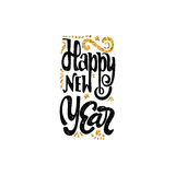 Happy new year 2017 gold lettering text . Handmade vector calligraphy for your design. Happy new year 2017- Badge drawn by hand, using the skills of calligraphy Royalty Free Stock Photography