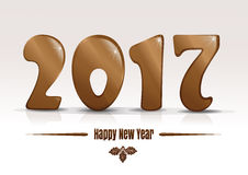 Happy new year 2017. Gold lettering on a white background Stock Image