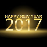 Happy new year 2017 gold light background Stock Photos