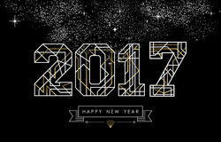 Happy new year 2017 gold line art greeting card Royalty Free Stock Photo