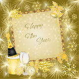 Happy New Year in gold merry background vector Stock Image