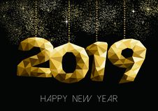 Happy New Year 2019 gold night party greeting card royalty free illustration