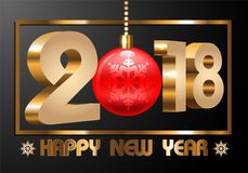 Happy New Year 2018 gold number 3D frame text snowflake red Christmas ball on gray design for holiday festival countdown celebrati. On background  illustration Stock Photos