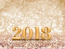 Happy new year 2018 year gold number  3d rendering  at sparkli. Ng golden glitter studio background ,Holiday Greeting card.Banner mock up for display of design Stock Photo