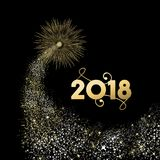 2018 gold New Year fireworks greeting card. Happy New Year 2018 gold number typography greeting card with fireworks explosion in night sky. EPS10 vector Royalty Free Stock Photos
