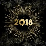 New Year 2018 gold firework night sky card. Happy New Year 2018 gold number typography greeting card with fireworks explosion in night sky. EPS10 vector Stock Photography