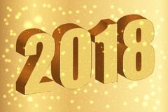 Happy new year 2018. Gold numbers 3D on the golden background wi Royalty Free Stock Images