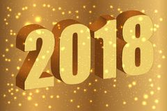 Happy new year 2018. Gold numbers 3D on the golden background wi. Th glitter. Vector illustration Royalty Free Stock Photography