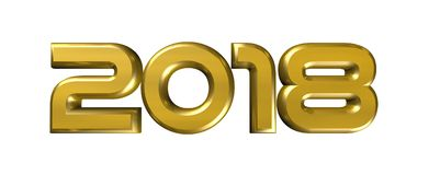 2018 happy new year Gold numbers. 3d rendering of 2018 happy new year Gold numbers figures icon logo symbol with transparent background Royalty Free Stock Photography