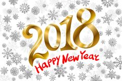 2018 Happy new year. Gold Numbers Design of greeting card of Falling Shiny Confetti. Banner with 2018 Numbers on snowflakes Backgr. Ound. Vector illustration royalty free illustration