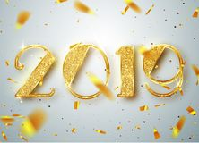 2019 Happy new year. Gold Numbers Design of greeting card of Falling Shiny Confetti. Gold Shining Pattern. Happy New. Year Banner with 2019 Numbers on Bright Royalty Free Stock Photos