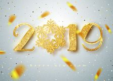 2019 Happy new year. Gold Numbers Design of greeting card of Falling Shiny Confetti. Gold Shining Pattern. Happy New. Year Banner with 2019 Numbers on Bright vector illustration