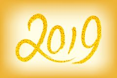 2019 Happy new year. Gold Numbers Design of greeting card with g. Old shining pattern. Happy New Year Banner with 2019 Numbers on golden background. Vector Royalty Free Stock Photography