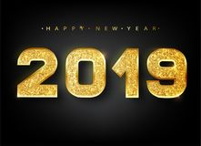 2019 Happy new year. Gold Numbers Design of greeting card. Gold Shining Pattern. Happy New Year Banner with 2019 Numbers. On Bright Background. Vector Royalty Free Stock Photos