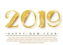 2019 Happy new year. Gold Numbers Design of greeting card. Gold Shining Pattern. Happy New Year Banner with 2019 Numbers vector illustration