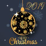 2019 Happy new year. Gold Numbers Design of greeting card. Gold Shining Pattern. Happy New Year Banner with 2019 Numbers on Bright. Background stock illustration
