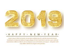 2019 Happy new year. Gold Numbers Design of greeting card. Gold Shining Pattern. Happy New Year Banner with 2019 Numbers. On Bright Background. Vector Royalty Free Stock Photo