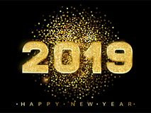 2019 Happy new year. Gold Numbers Design of greeting card. Gold Shining Pattern. Happy New Year Banner with 2019 Numbers. On Bright Background. Vector royalty free illustration