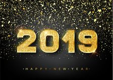 2019 Happy new year. Gold Numbers Design of greeting card. Gold Shining Pattern. Happy New Year Banner with 2019 Numbers. On Bright Background. Vector stock illustration