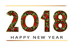 2018 Happy new year. Gold Numbers Design of greeting card. Happy New Year Banner with 2018 Numbers on Bright Background Royalty Free Stock Photo