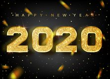 2020 Happy new year. Gold Numbers Design of greeting card. Gold Shining Pattern. Happy New Year Banner with 2020 Numbers stock illustration
