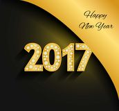 Happy New Year 2017. Gold numbers. Diamonds, jewels, rhinestones, Luxury design elements. Royalty Free Stock Images