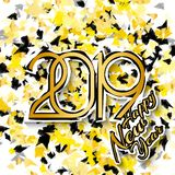 2019 Happy New Year. Gold numbers on patterned background. New Year 2019 greeting card. Vector illustration. 2019 Happy New Year. Gold numbers on patterned stock illustration