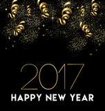 Happy New Year 2017 gold party decoration card Stock Photos
